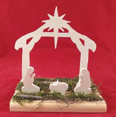 décoration en bois en kit représentant la crèche de Noël, avec Marie, Joseph et le petit Jésus et l'étable