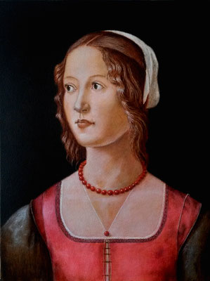 PORTRAIT OF A YOUNG WOMAN (after il Ghirlandaio), wooden panel, 43 x 32cm