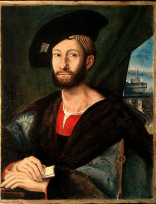 PORTRAIT OF GIULIANO DE MEDICI (after Raphael), canvas board, 16 x 12in (40 x 30cm)