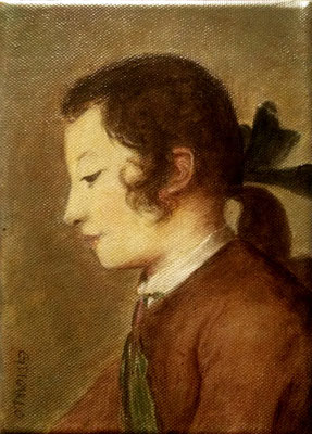 Detail of BOY PLAYING WITH CARDS (after Jean-Baptiste Siméon Chardin), canvas, 21 x 15cm