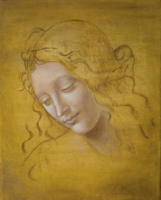 LA SCAPILIATA (The Lady with disheveled hair or Head of a Woman, after Leonardo Da Vinci), canvas, 35 x 28cm