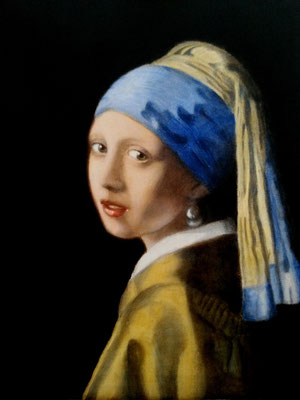 GIRL WITH PEARL EARRING (after Johannes Vermeer), canvas, 50 x 40cm