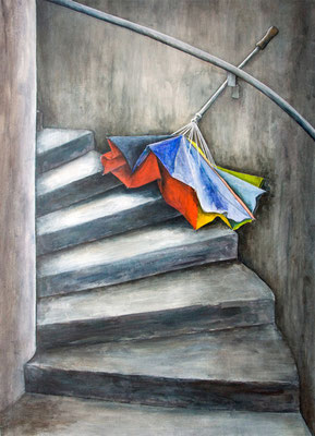 Vergessener Schirm, Acryl auf Leinwand, 70x50x2 cm