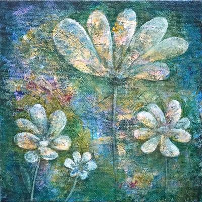 Blumen 2, Acryl auf Canvas Panel, 15x15x0,3 cm