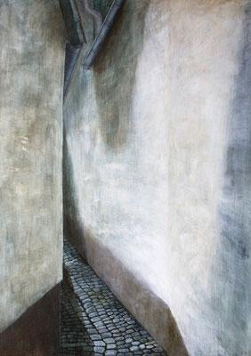 Kirchpfad - Nauheim, Acryl auf Leinwand, 70x50x2 cm