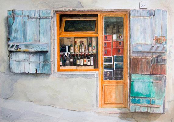 Vetrina del Vino, Acryl auf Leinwand, 70x100x3,5 cm