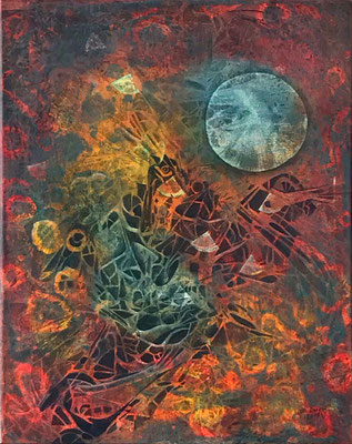 Mond, Acryl auf Leinwand, 50x39,5x1,5 cm