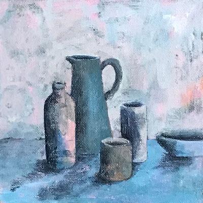 Stillleben 1, Acryl auf Canvas Panel, 15x15x0,3 cm
