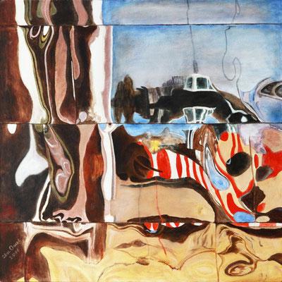 Spiegelung2, Acryl auf Leinwand, 50x50x4 cm