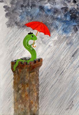 Der Optimist, Mischtechnik auf Papier, 30x20 cm