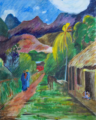 ... nach Paul Gaugin, Acryl auf Leinwand-Malkarton, 50x40 cm