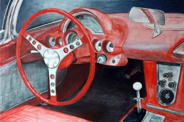Corvette, Acryl auf Leinwand, 50x70x2 cm