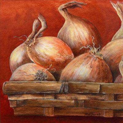 Zwiebeln, Acryl auf Papier, 23x23 cm
