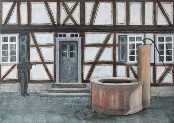 Nauheim-Altes Rathaus, Acryl auf Leinwand, 50x70x2 cm