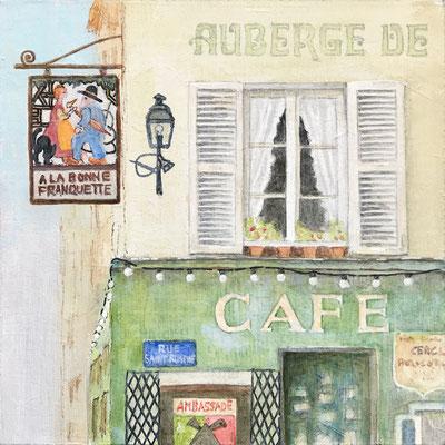 Auberge, Acryl auf Mdf, 15x15x0,3 cm