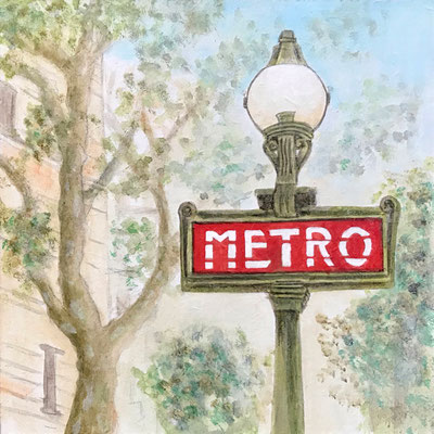 Metro, Acryl auf MDF, 15x15x0,3 cm