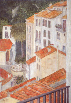 Blick vom Balkon, Acryl auf Pappe