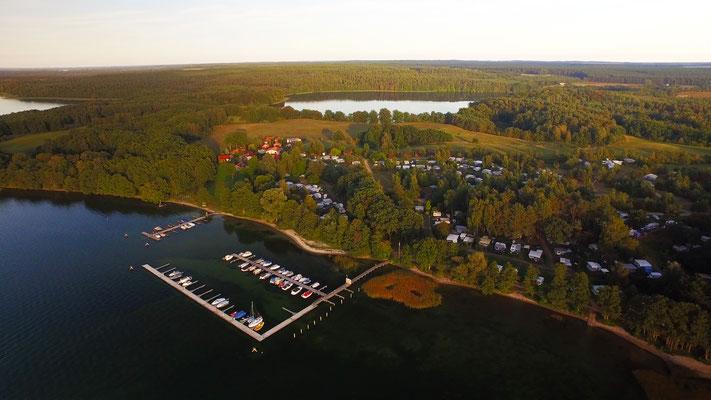 Naturcamping Zwei Seen von oben - Bild aus dem Kameraflug mit der Drohne im September 2016