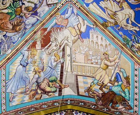 Ein himmlischer Reiter hindert Helidorus daran, die Schatzkammer mit dem Geld der Witwen und Waisen zu rauben.