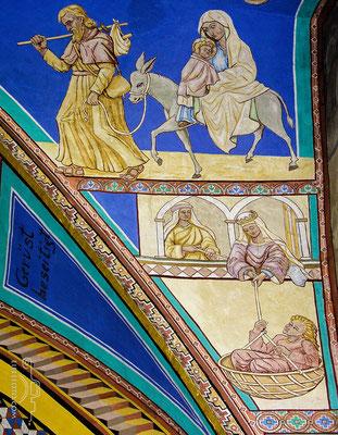 """Flucht nach Ägypten. Unten die Flucht Davids. Im Nebenfeld bemerkt Chr. März: """"Gerüst beseitigt""""!"""""""