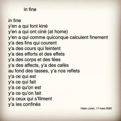 """""""in fine"""" auteure : Helen Juren"""