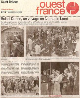 Article du journal Ouest France - 23 février 2009