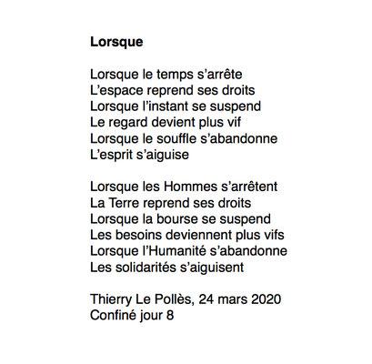 """""""Lorsque"""" auteur Thierry Le Polles"""