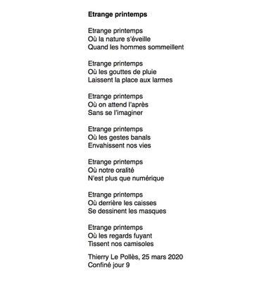 """""""Etrange Printemps"""" auteur Thierry Le Polles"""