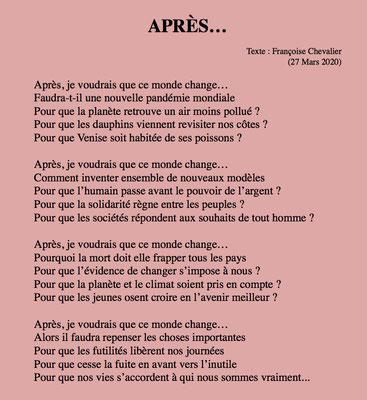 """""""Après"""" auteure Françoise Chevalier"""