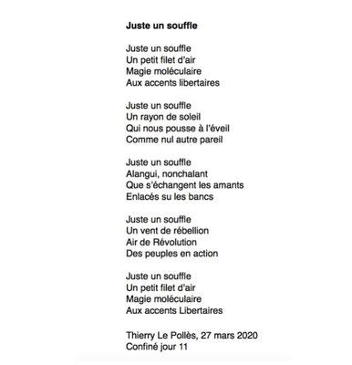 """""""Juste un souffle"""" auteur Thierry Le Polles"""