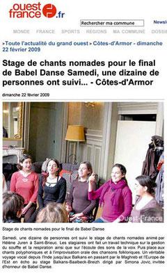 Article du journal Ouest France - 22 février 2009