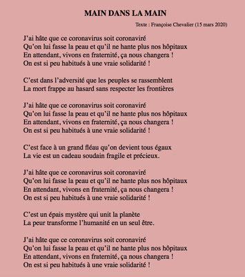 """""""Main dans la main"""" auteure Françoise Chevalier"""