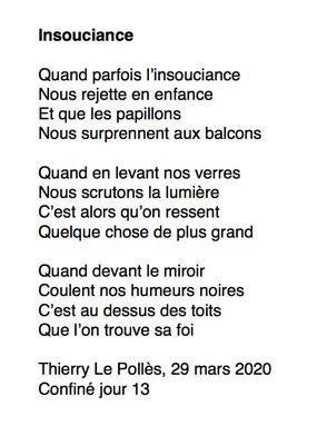 """""""Insouciance"""" auteur Thierry Le Polles"""