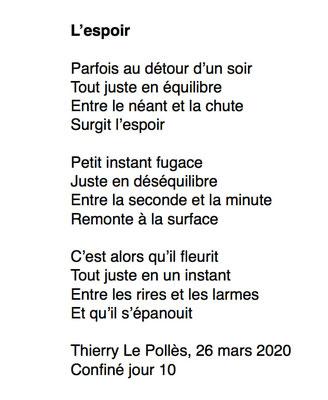 """""""L'espoir"""" auteur Thierry Le Polles"""