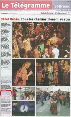 Article du journal Le Télégramme - 23 février 2009