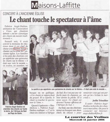 Article du journal Le Courrier des Yvelines - 11 janvier 2006