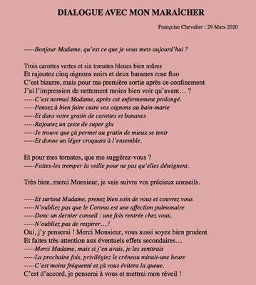 """""""Dialogue avec mon maraîcher"""" auteure Françoise Chevalier"""