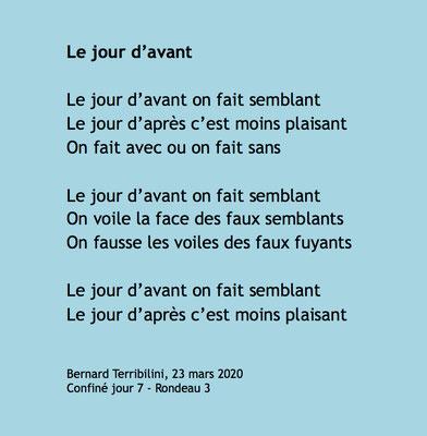 """""""Le jour d'avant"""" auteur Bernard Terribilini"""