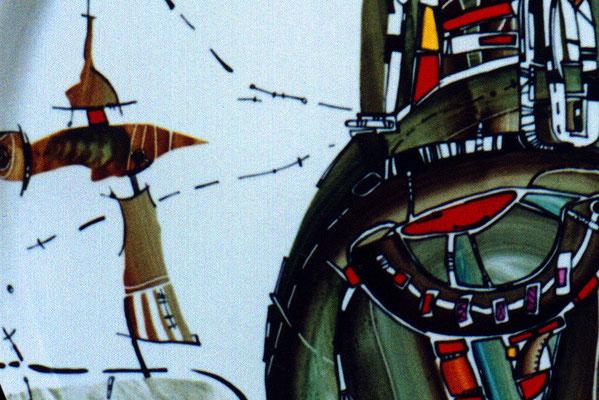 """Fragment """"Horseman"""", D-37cm,  porcelain, overglaze painting,2014"""