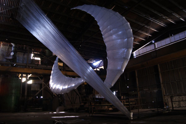 """Wings / Falling"" installation ,14x28x6 m, Germany, Büdelsdorf, NordArt project, 2016"