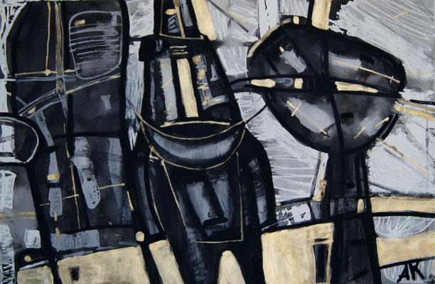 """The appearance of Horseman"",Sheet 4,paper, mixed media, 70x50, 2014"