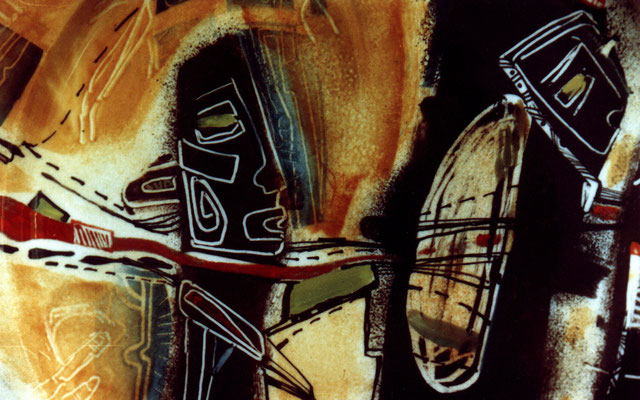 "Fragment ""Idols №2"", D-30cm, porcelain, overglaze painting,2012"