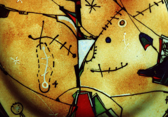 """Fragment  """"Dreams №3"""", D-30cm, porcelain, overglaze painting,2014"""