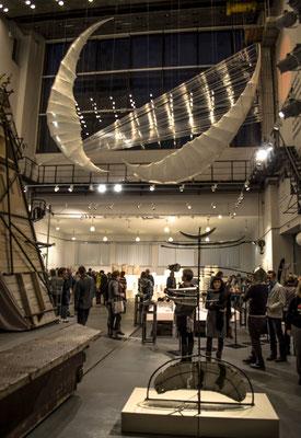 """""""The Fall of Icarus"""",1500х1000х500 cm, lavsan tape, fiberglass,2014 """"Greek salad"""", Museum of City Sculpture, (St.Petersburg),"""