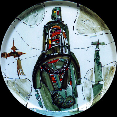 """Horseman"", D-37cm,  porcelain, overglaze painting,2014"