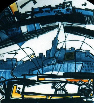 """Fragment """"Town №2"""", D-25cm,  porcelain,  overglaze painting,2013"""