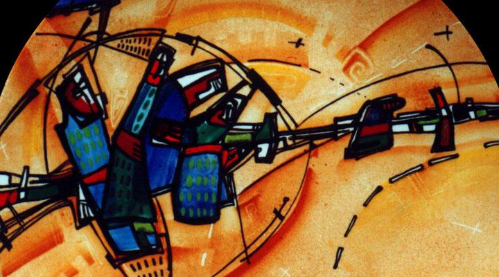 """Fragment """"Town 1"""", D-25cm,porcelain, overglaze painting,2013"""