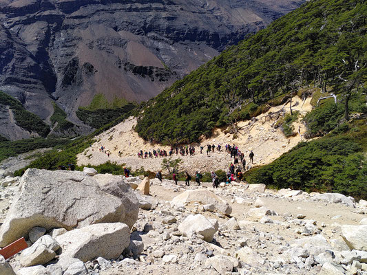 Chile - Parque Nacional Torres del Paine - W-Trek - Stau auf dem Wanderweg zur Base de las Torres