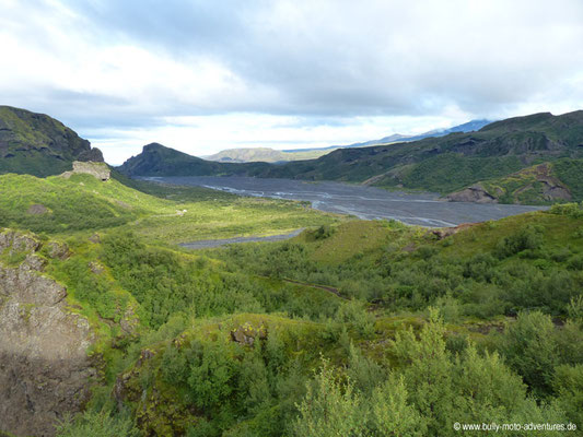 Island - Fimmvörðuháls - Blick nach Þórsmörk