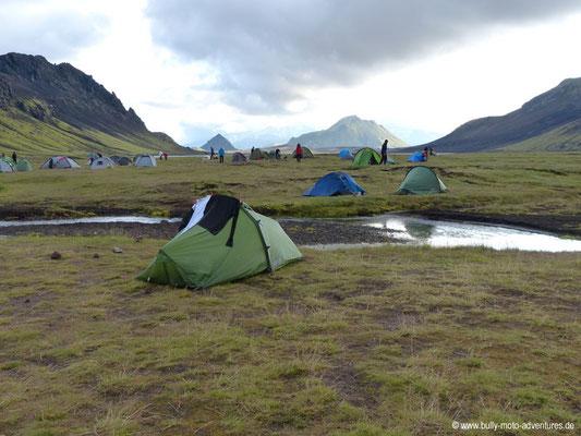 Island - Laugavegur - Etappe 2 - Hrafntinnusker nach Álftavatn - Zeltplatz